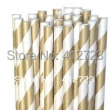 Promotion! new Paper Straws gold striped Drinking Straws Christmas valentine Party/Wedding birthday Decoration supplies 75pcs