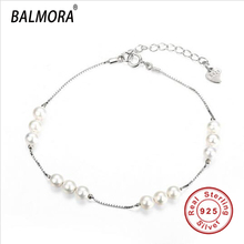 New Hot 100% Real Pure 925 Sterling Silver Jewelry Simulated Pearl Bracelets for Women Lady Luxury Jewelry Gifts Bijoux SVH012