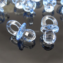 100pcs Small Diamond Cut Acrylic Pacifiers Baby Shower Favors For Table Game Party Cake Decorations 12 x 21mm