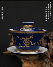 outline in gold Offering blue eight treasures  Cover bowl All-Hand-made All-Hand painted ancient Tea set  Free Shipping