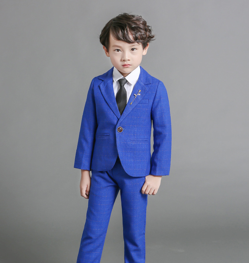 Flowers Boys Formal Suit Wedding Birthday Party Dress Gentleman Kids Blazer + Pants Bowtie 3Pcs Children Performance Costume F72<br>