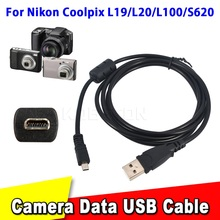 High Quality 59 inch 1.5M Usb date Cable Camera Pc Data Transfer For Nikon For Coolpix L19 L20 L100 S620 UC-E6 For FinePix