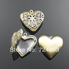 15mm Vintage Antique Bronze Brushed European Charms Love Heart Filigree Openable Wish Box Prayer Photo Locket Pendant Wholesale