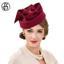 FS Aristocratic Wine Red Vintage Wool Pillbox Hat Elegant Woman Wedding Dress Ladies Sinamay Fascinator Party Church Derby Hat(China)