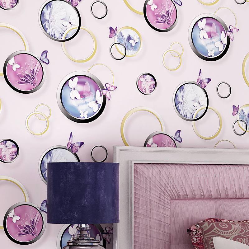 beibehang 3d stereo circle non - woven wallpaper warm wedding room bedroom living room sofa TV background wallpaper<br>