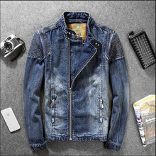 Plus Size Men Jean Jacket Spring Fall Fashion Denim Jackets For Men Stand Collar Casual Cotton Outerwear 3XL A904