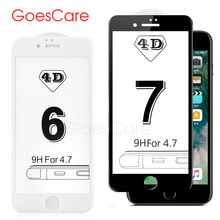 GoesCare 4D Full Cover Hard Rounded Edges Tempered Glass For iPhone 7 Screen Protector Protective Film For iPhone 6 6s Plus(China)