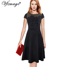 Vfemage Women Sexy Elegant Floral Crochet Lace Ruched Party Evening Mother of Bride Fit and Flare Swing A-line Skater Dress 7630(China)
