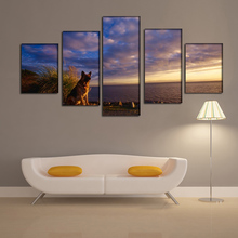 2016 New dog sheep sky sea waiting oil painting For home Wall Art Picture Unframed gift free shipping(China)