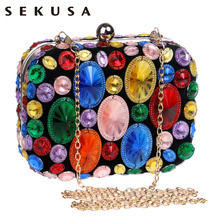 Acrylic Beaded Women Evening Bags Chain Shoulder Small Purse Day Clutches Wedding Party Dinner - SEKUSA EVENING BAG Store store