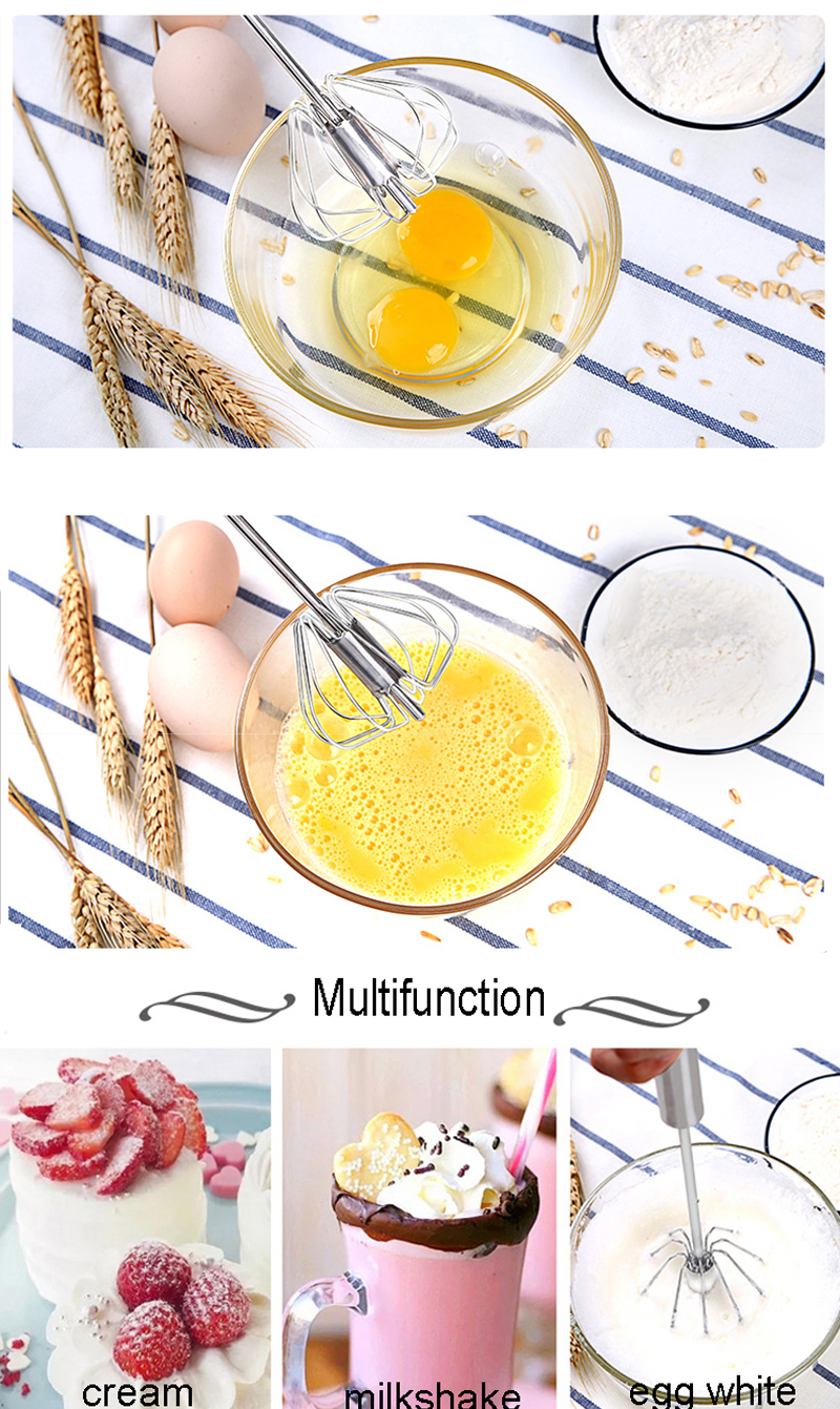 Manual Stainless Steel Kitchen Mixer Semi-automatic Milk Frother Egg Beater Foam Maker Coffee Drink Latte Cappuccino Mixer Mixer 5