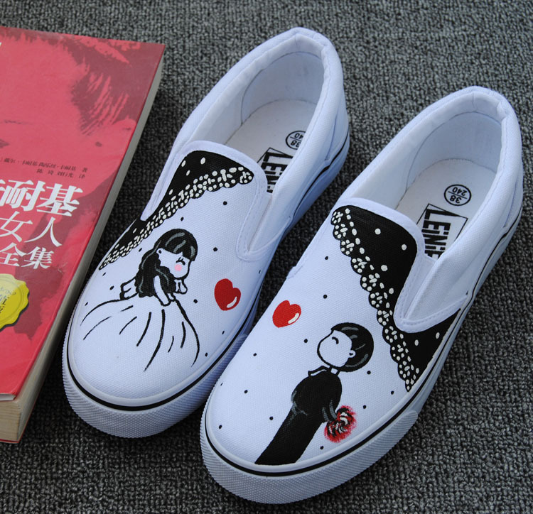 22 color Hand Painted Fashion Platform Men 2017 Spinrg Summer Dunk Low Slip-on Canvas Slippers Lovers/Couple Loafers<br><br>Aliexpress