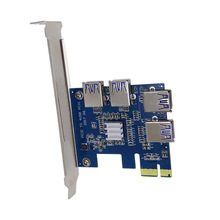 PCI Expansion Card To 4 Ports USB 3.0 Converter Adatper PCIE Riser Cards For Bitcoin Mining Device EM88
