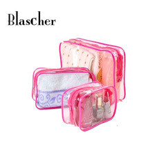 Women Make Up Bag transparent cosmetic bag Yellow Blue Pink  PVC Waterproof Cosmetic Bag HBG28