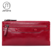 Jamarna Wallet for Women Genuine Leather Purse Long Wristlet Clutch Red Wallet Coin Female Purse Phone Holder Double Zipper(China)
