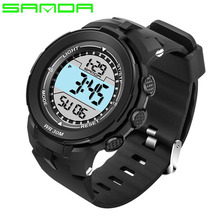 2017 SANDA Fashion Mens Sports Watches Multifunction Chronograph LED Digital Hours Watch Men relogio masculino esportivo digital(China)