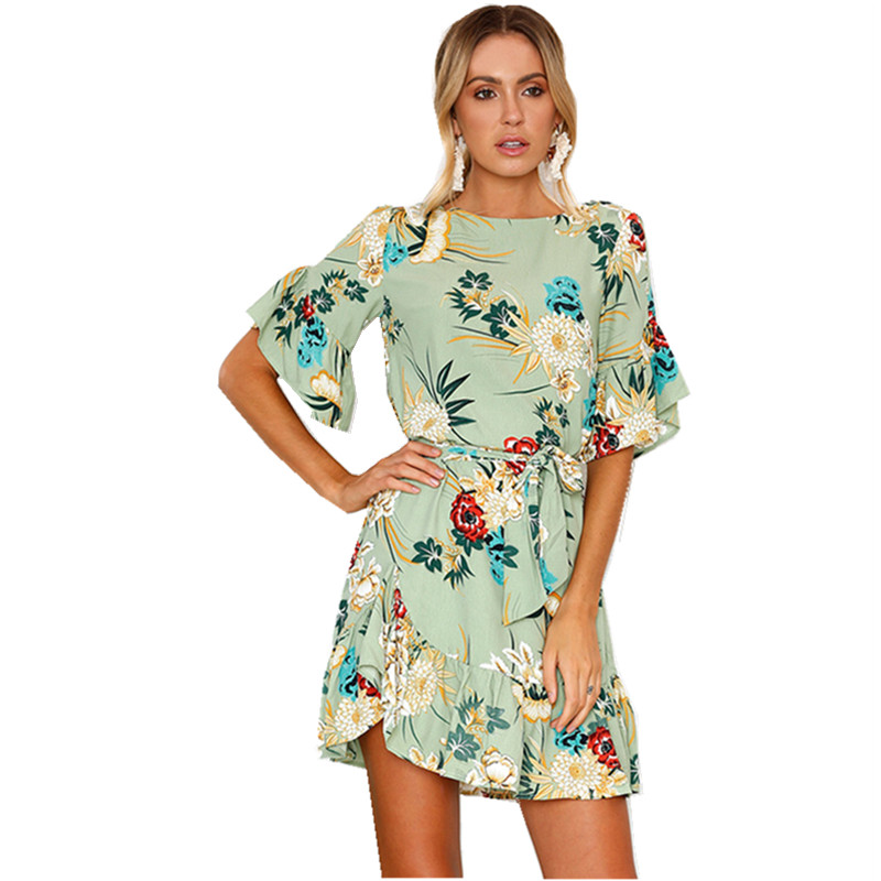 Lossky Summer Women Beach Dress 2018 Bohemian Floral Print Boho Dress O-Neck Short Sleeve Ruffle Mini Chiffon Dress With Belt 14