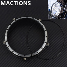 "New Black&White Motorcycle 5.75"" Headlight Lamp Bezel Trim Ring For Harley Sportster XL 883 883N 1200 2004-2014(China)"
