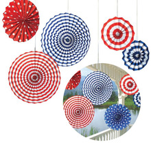 6Pcs/set Event Kindergarten Celebration Stripe Dot Paper Fans Round Wheel Disc Birthday Kids Party Wall Home Decor Supplies