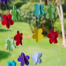 2.1M 3D Flower Banner Colorful Hanging 3 Tier Paper Garland String Chain For Wedding Party Kids Birthday Party Home Decoration(China)