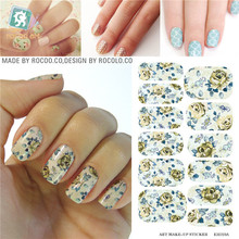 New water decals nail art stickers fashion stickers for manicure design Patch Full Cover Rose Flower Pattern adhesive foil(China)