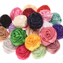12PCS Satin Flower Rose Bud Hair Flower Hair Accessories DIY Flower Accessory No Clips for Hair Band(China)