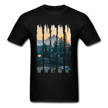 Chinese Style Natural Landscape Mountain Design T Shirt Stylish Fashion 3D Picture Tshirts For Men Round Collar Cotton T-shirts(China)