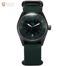 Shark Army Green Auto Date Display Stainless Steel Case Nylon Strap Men Quartz Wrap Analog Military Sport Watch Gift Box /SAW107
