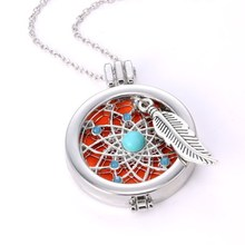 1 Set  Fashion Round Dreamcatcher Perfume Aromatherapy Essential Oils Diffuser Locket My Coin Necklace with Pads