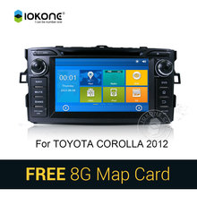 IOKONE Car DVD Video Player GPS navi Stereo for Toyota Auris Corolla 2012 With Bluetooth radio multimedia Stereo RDS SWC 8G card(China)