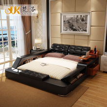 modern leather king size storage bed frame with side storage cabinets stool no mattress bedroom furniture sets b03k