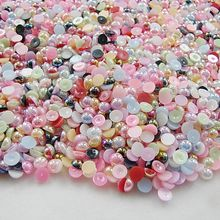 10mm 100pcs AB Colors, Mulity Color ABS Half Round Imitation Pearls Beads,Pearls round for crafts,DIY Crafts Nail Art Decoration