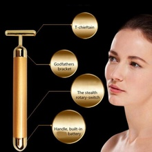 Slimming Face Gold Vibration Facial Beauty Roller Massager Stick Lift Skin Tightening Wrinkle Stick Bar Face Skin Care Tool(China)