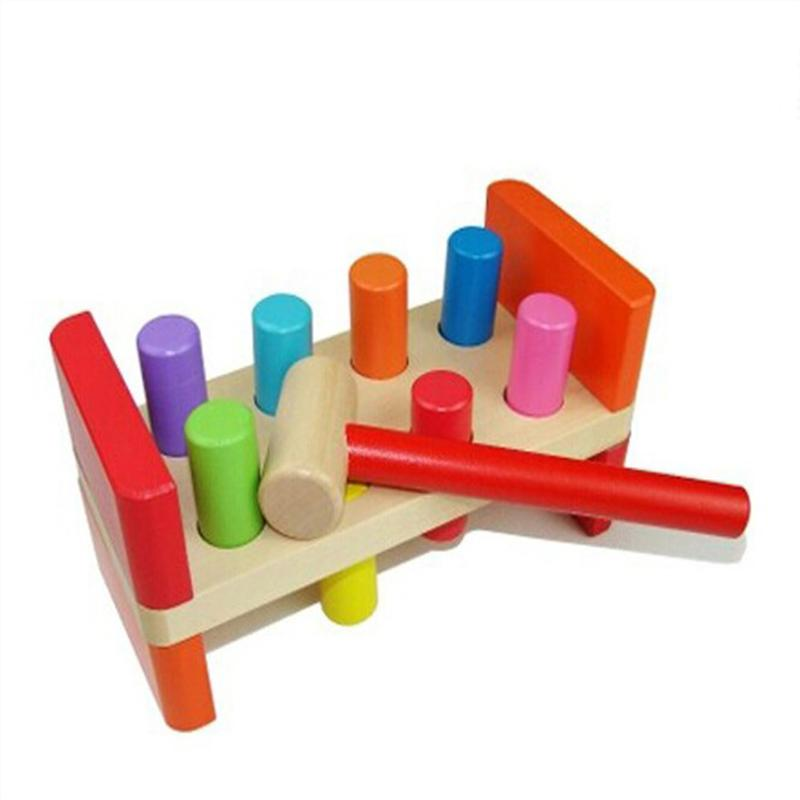 Colorful Children Wooden Piling Table Toy Toddlers Early Educational Toys Kids Hammer Pounding Desktop Block Game<br>