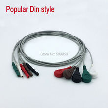Popular Din stye ecg leadwire cable 5 lead snap on terminal(China)