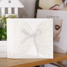 Hot 10Pcs/set 3 Color Romantic Wedding Party Invitation Card Delicate Carved Pattern Wedding Supplies(China)