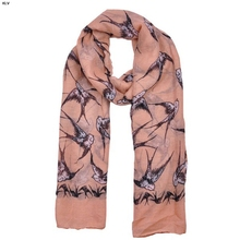 KLV Lady Womens Long Cute swallow scarf Print Scarf scarves long stoles wraps shawl scarf