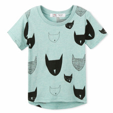 Free Shipping 2017 Brand New Summer Kids tshirt 100%Cotton Jersey allover cat print Short Sleeves baby tshirts baby girl clothes