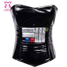 Black PVC Leather Corset Zipper Bustier Sexy Gothic Clothing Women Corselet Overbust Espartilhos E Corpetes Corsets Para Festa