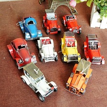 10 cm Tinplate Handmade Ancient Car Collection Showcase Decorations Retro Craftwork Tin Vintage Car Models