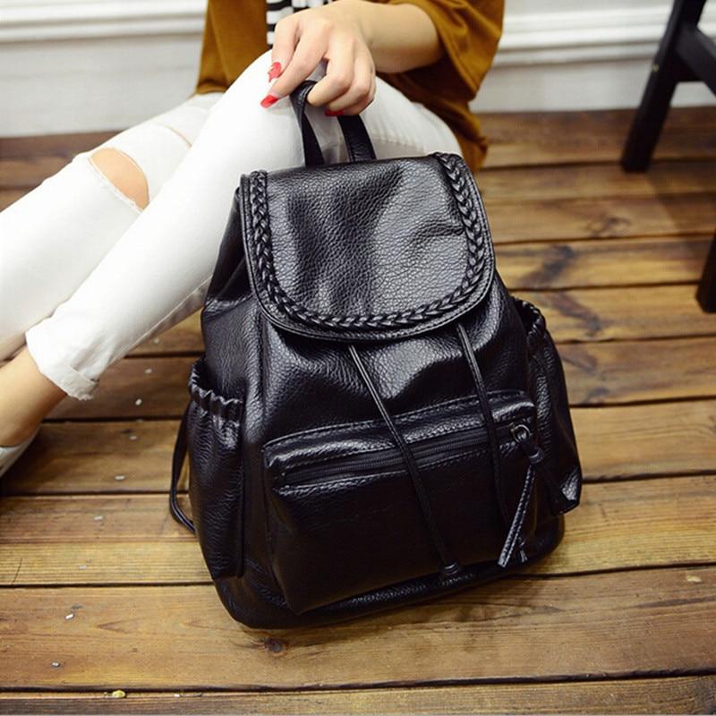 Women Black Backpacks PU Leather Shoulder School Bag For Girl Ladies Teenagers Travel Bags Schoolbag Bagpack Mochila Feminina<br><br>Aliexpress