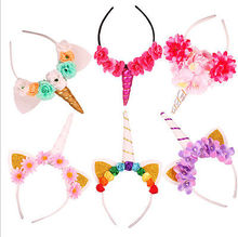 Unicorn Horn Flower Headband Fancy Dress Kids Adult Party Birthday Magical Gift