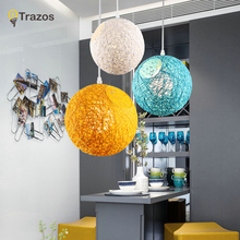 Creative Personality Edison bulb Colorful Pendant Lamps Restaurant Bar Cafe Lamps Rattan Field Pasta Ball E27 LED Pendant light