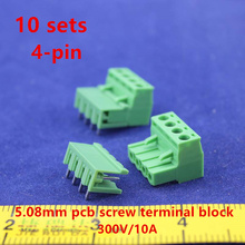 Free shipping 10 sets ht5.08 4pin Right angle Terminal plug type 300V 10A 5.08mm pitch connector pcb screw terminal block