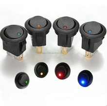 Universal New 4Pcs Red Green Blue Yellow 12V LED Dot Light Car Boat Round Rocker ON/OFF SPST Switch 3 Pins With LED Indicator(China)