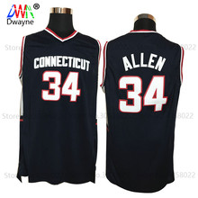 2017 Mens Cheap Throwback Basketball Jerseys #34 Ray Allen Jersey Connecticut Huskies College Stitched Shirts Vintage Black