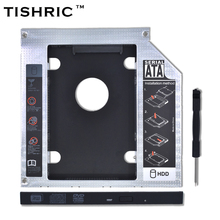 "TISHRIC 2017 New Aluminum Universal 2nd HDD Caddy 9.5mm SATA 3.0 For 2.5""SSD CD DVD Case Enclosure for Laptop CD-ROM Optibay"