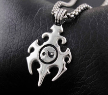 Tribal Tattoo Flamming Fire Energy Yin Yang Men's Biker Pendant Necklace(China)