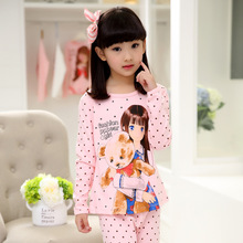 Retail Girl's Cartoon Cotton Pajamas Sets Spring & Autumn 2016 New Children Sleepwear Pyjamas Set for Teenage Girls Underwear