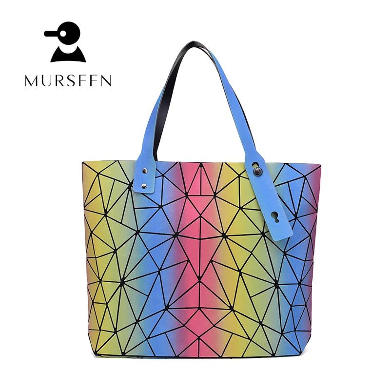 Hot Sale Bag Folding Fashion Irregular geometric rainbow pattern Shoulder Handbags Fashion Casual Women Tote Top Handle Bags<br>
